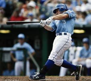 Johnny Giavotella #9 of the Kansas City Royals hits a home run in the fifth inning against the Detroit Tigers at Kauffman Stadium on August 7, 2011 in Kansas City.