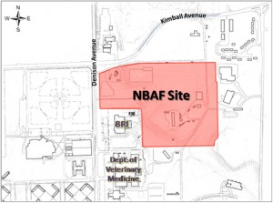 A map featuring the location of the NBAF site