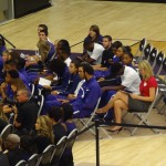 The K-State men's and women's basketball teams look on during the dedication of their practice facility.