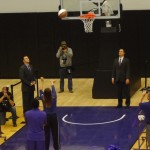 K-State senior guard Brittany Chambers sinks a free throw during the dedication of the new basketball training facility.
