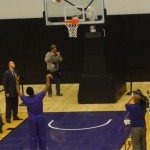 K-State senior guard Rodney McGruder knocks down a free throw at the dedication for the new basketball practice facility.