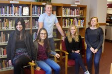 November is International Student month. The five exchange students attending Wamego High School took the opportunity to thank the board for allowing them to attend WHS this year. The students are (right to left): Leila,Nunes, Brazil, YFU; Giulia Rinaldi, Switzerland, AFS; Matt Lövfors, Sweden, YFU; Signe Kragh, Denmark, YFU; and Kathi Manke, Germany, YFU; Photo by Beth Day, Wamego Smoke Signal