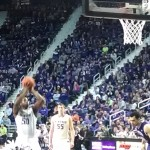 K-State's D.J. Johnson shoots a free throw during the second half of Wednesday night's game against TCU at Bramlage Coliseum. (Photo by Erik Stone)
