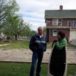 Sen. Moran visiting with homeowner Kristin Trease in Baxter Springs; Photo Courtesy of Sen. Moran's office