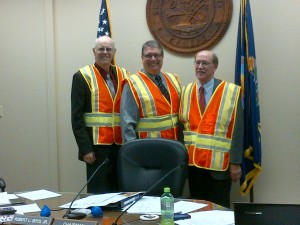 left to right:  Commissioner, Ron Wells; Commissioner, Dave Lewis; Assistant County Counselor, Craig Cox
