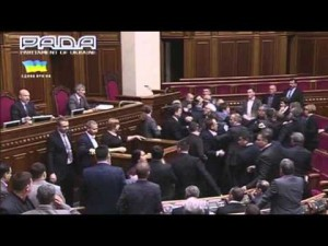 Ukrainian Lawmakers exchange punches
