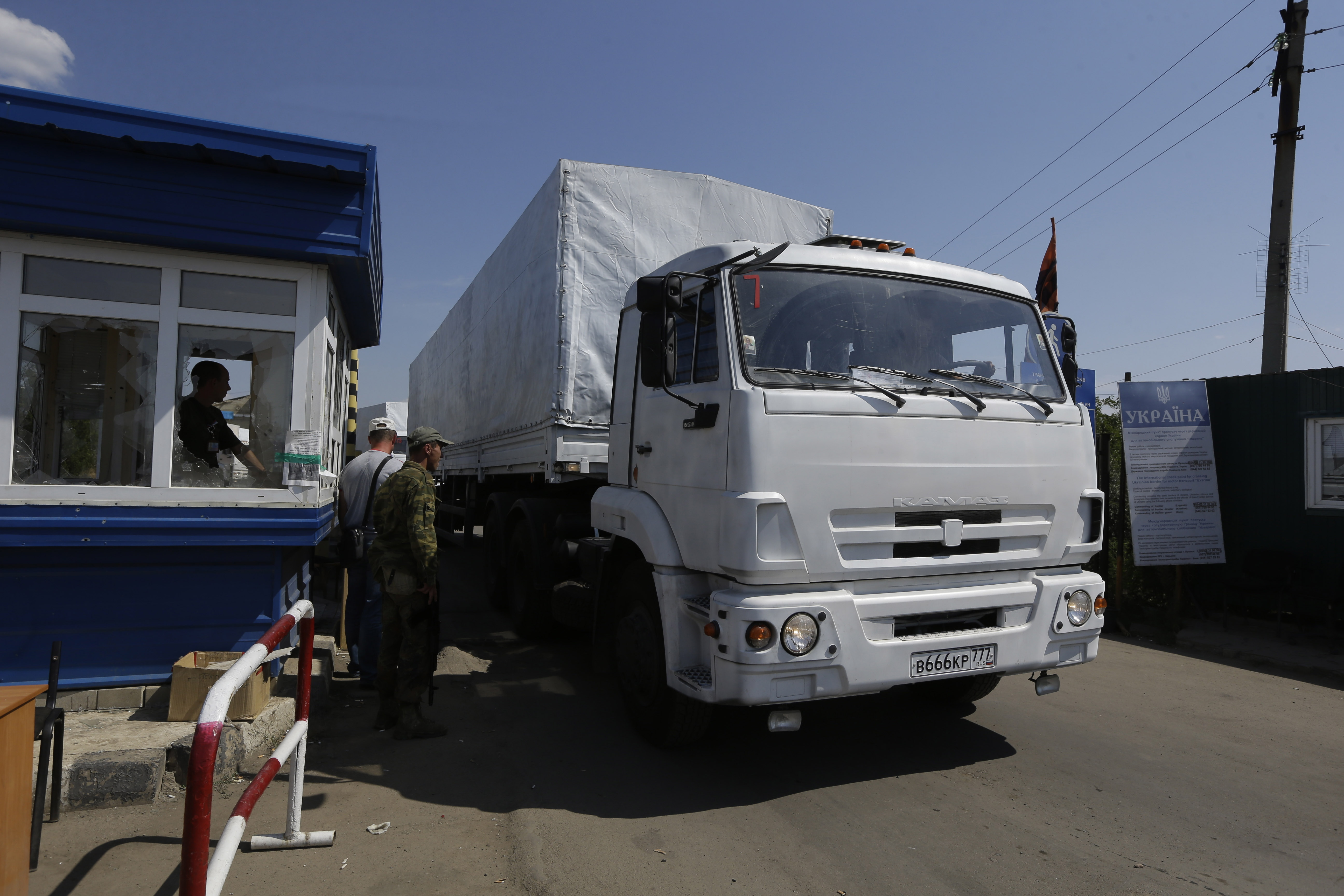 Russian Relief convoy rolls into Ukraine