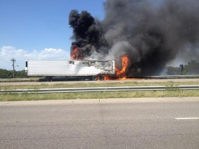 semi on fire