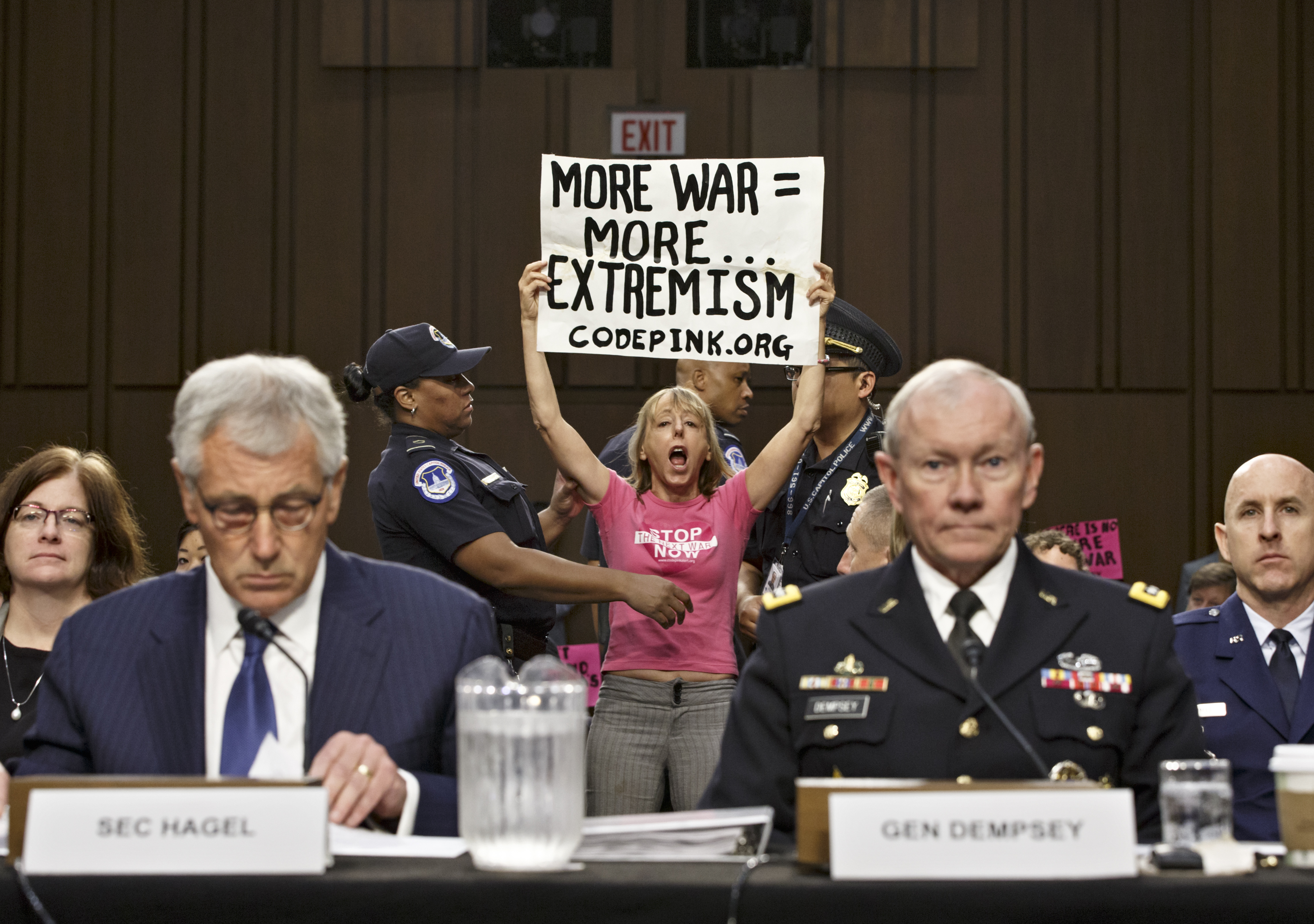 Protesters disrupt Senate hearing on ISIS