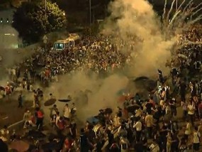 Police Use Tear Gas on Hong Kong Protesters