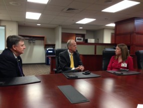Mercy Regional CFO Jim Fraser, Senator Jerry Moran, Mercy Public Relations Director Jana Bowman