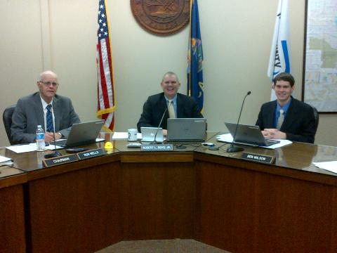Riley County Commissioners Ron Wells, left, Robert Boyd and Ben Wilson.