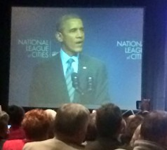 City Manager Ron Fehr and City Commissioner Usha Reddi attended the National League of Cities where President Obama was the keynote speaker.