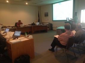 Transportation Planner Stephanie Watts gives updates on the Marlatt-Junietta Extension Project at Monday's meeting.