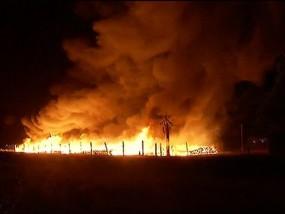 Power Poles Burn in Central California