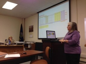 County Appraiser Lois Schlegel addressing Pottawatomie County Commission