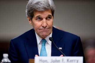 Secretary of State John Kerry testifies along with Secretary of Energy Ernest Moniz, and Secretary of Treasury Jack Lew at a Senate Foreign Relations Committee hearing on Capitol Hill, in Washington, Thursday, July 23, 2015, to review the Iran nuclear agreement. The hearing marked a new phase of a bruising struggle that will lead to what will arguably be the biggest foreign policy vote in more than a decade.  (AP Photo/Andrew Harnik)