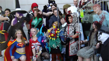 Costume contest participants pose for a group shot during the first-ever Little Apple Comic Con outside the Manhattan Conference Center Saturday afternoon. (Staff photos by Brady Bauman)