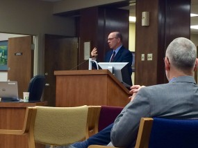 Schoen speaks to Riley County Commissioners