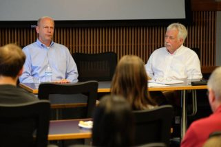 Andrew Weber (left) and Dave Elliot (right) taking questions at the College of Veterinary Medicine at K-State.