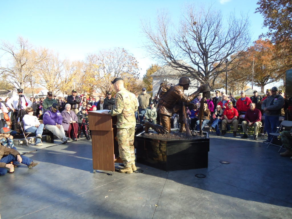 Gold Star families, veterans and supporters gather for the dedication of Wamego's new memorial to veterans. (Photos by Joyce Mermis)