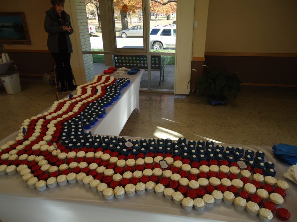 Patriotic cupcakes await at the reception for Wamego's new veterans memorial.
