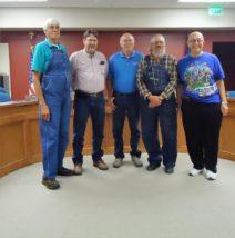(L/R)  Chet Weinstroer, Wayne Castegnaro, Mayor Cliff Baughman, Marcus Nelson, Dale Breymeyer.