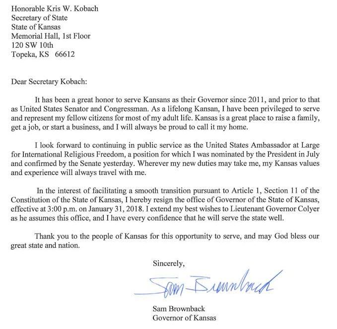 Brownback Pens Resignation Letter Following Senate Confirmation